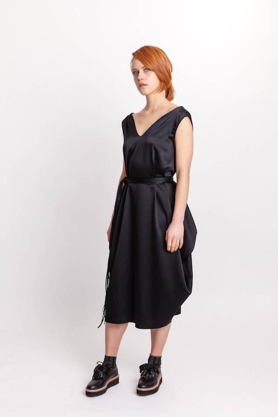 Black midi minimalistic dress  Woman/'s long elegant dress  Sleeveless dress  Special occasion woman/'s dress  Fasada 15056