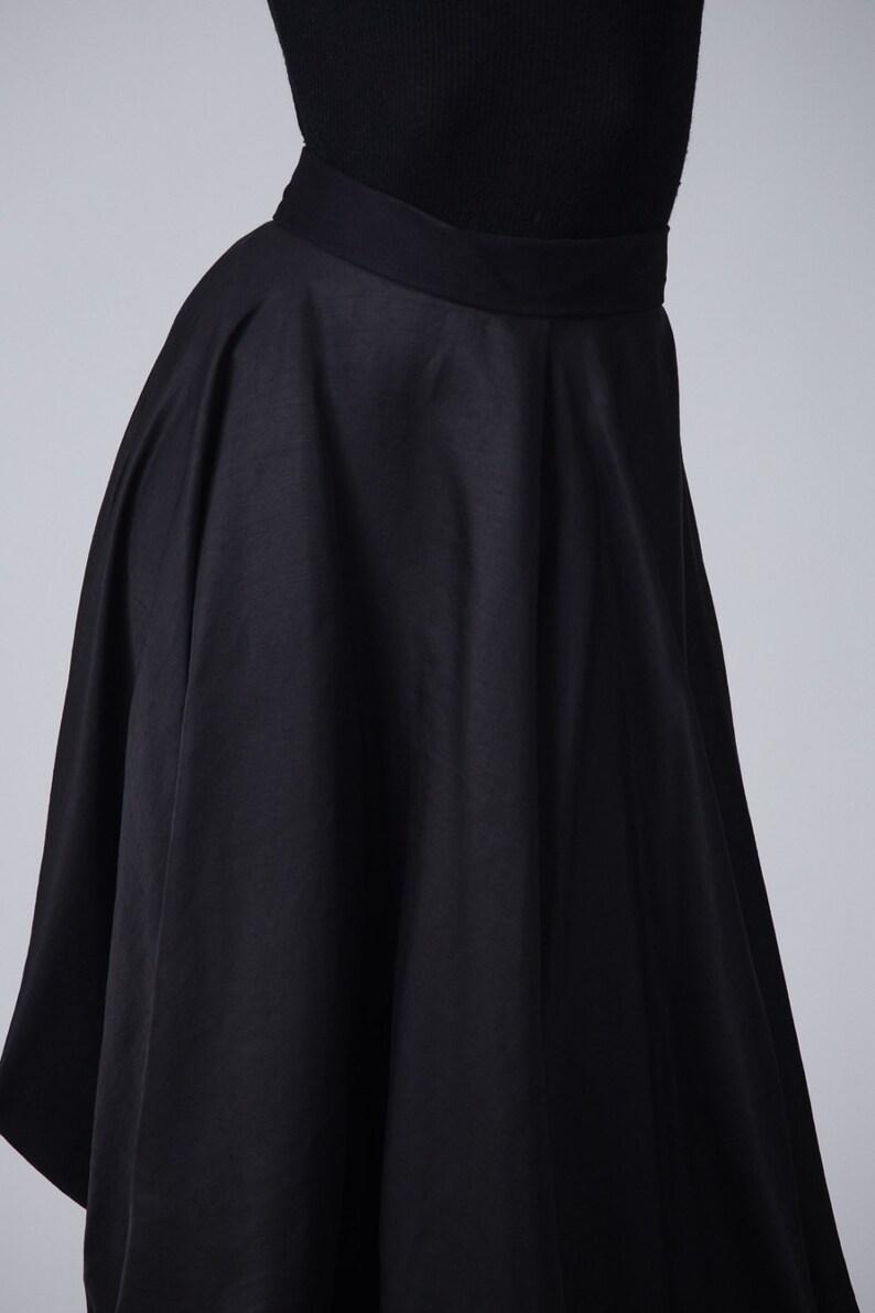 Black asymmetric skirt  High waist langelook skirt  Asymmetric long black skirt  Woman/'s fashion long skirt  Fasada 16146