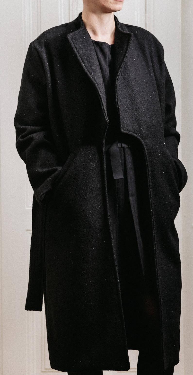 Woman/'s winter black coat  Warm long front pockets fashion coat  Belt black woman/'s wool coat  Elegant woman/'s long coat  Fasada 15076-3