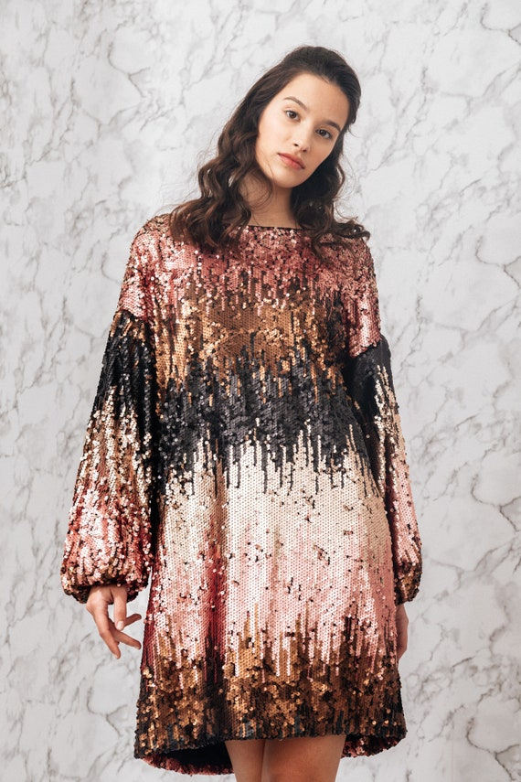 Woman\'s drape sequin dress / long sleeves oversized sequin dress / special  occasion dress / plus size unique woman\'s dress / Fasada 19004