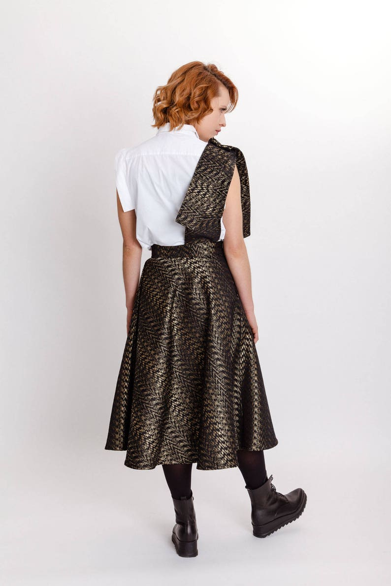 Brocade gold elegant skirt  High waist with pocket midi skirt  Unique woman/'s special occasion skirt  Fasada 17181