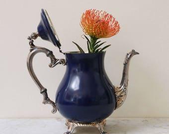 Painted vintage silverplate vase, tea or coffee pot in navy blue