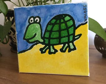 """Turtle Mini Ink Painting on Canvas 6""""x6"""" by Marius Valdes"""