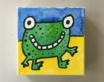 """Frog 02 Ink on Canvas Mini Painting 6""""x6"""" by Marius Valdes"""