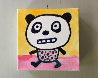 "Panda Bear 02 Ink Painting on Mini Canvas 6""x6"" by Marius Valdes"