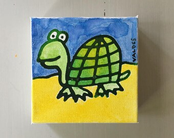"Turtle 02 Ink on Mini Canvas 6""x6"" by Marius Valdes"