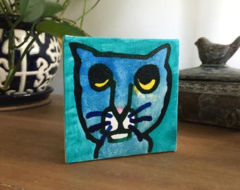 """Cat 02 Ink Painting on Mini Canvas 4""""x4"""" by Marius Valdes"""