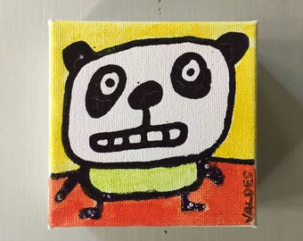 "Panda 03 Ink Painting on Mini Canvas 4""x4"" by Marius Valdes"