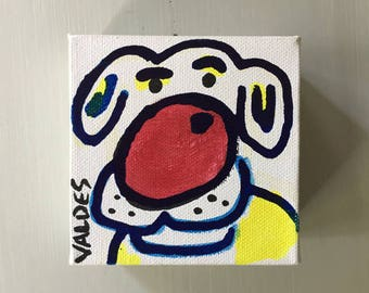 """Dog 01 Ink Painting on Mini Canvas 4""""x4"""" by Marius Valdes"""