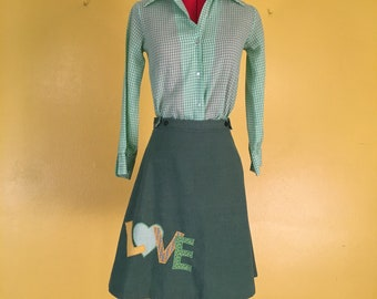 Vintage LOVE 1970's 2 piece wrap skirt and gingham shirt