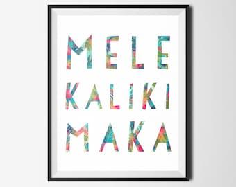 Christmas Digital Print, Mele Kalikimaka, Tropical Print, Christmas Printable, Christmas Decor, Christmas Wall Art, Hawaiian Digital Print