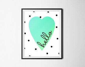 Hello Digital Print, Wall Art, Home Decor, Digital Printable, Nursery Wall Art
