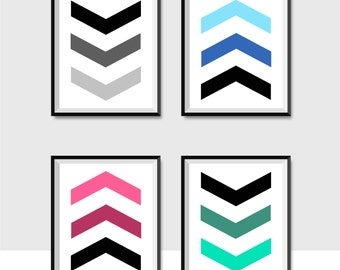 5 for 1 Chevron Digital Print, Chevron Arrow Digital Print, Chevron Wall Art, Chevron Home Decor, Black and White Art, Geometric Art