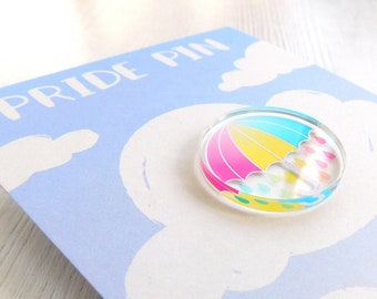 Pansexual Pride Badge, Pan Umbrella Pride Pin, LGBTQIA+ Pride Acrylic Pin Badge, Panromantic Pride, Pan Pride Flag Accessory