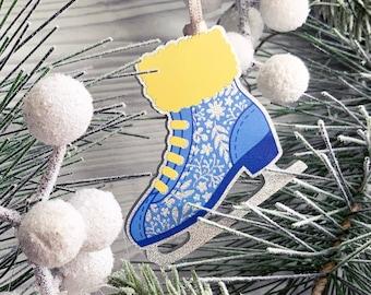 Ice Skate Winter Ornament, Silver Glitter Skate Tree Hanging, Acrylic Xmas Tree Ornament, Figure Skating Christmas Decoration