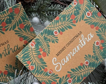 Personalised Christmas Card, Custom Xmas Card With Winter Floral Illustration, Personalized Holiday Card, Hand Lettered Kraft Card