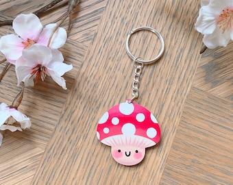 Cute Mushroom Keyring, Smiley Toadstool Keychain, Wooden Fly Agaric Keycharm, Plywood Bagcharm, Red And White Polka Dot Mushroom