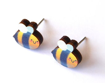 Cute Bee Earrings, Bumble Bee Ear Studs, Wooden Bug Statement Jewellery With Hypoallergenic Posts, Novelty Illustrated Jewelry