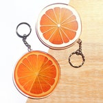 Orange Slice Transparent Acrylic Keychain, Clear Printed Charm For Summer Beach Bag Accessories And Fruity Sun Catchers