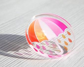 Lesbian Pride Pin, WLW Lesbian Umbrella Pride Pin, LGBTQIA+ Pride Acrylic Pin Badge, Pink And Orange Pride Pin, Sapphic Pride Flag