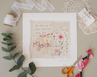 Giclee Print, Textile Art, Scripture Wall Art, Bible Verse Print, Christian Gifts, Illustrated Faith, Wedding Gift