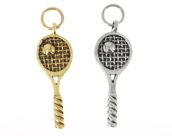 Tennis racquet charm in antique silver or gold plated pewter.  Tennis racket.  Tennis racquet gift.  Tennis racket gift.