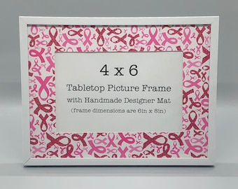 Photo Frame With Breast Cancer Awareness Designer Mat Etsy