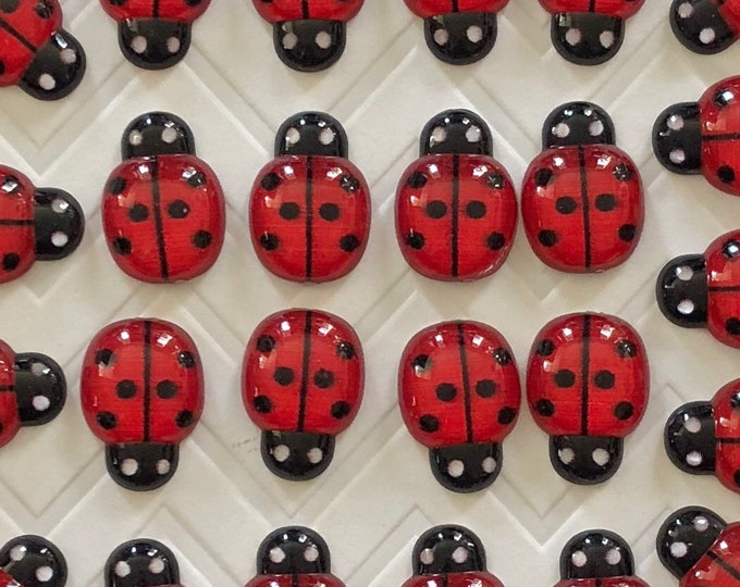 Featured listing image: Ladybug Push Pins, 25/50/100pcs - dorm decor, hostess gift, weddings, bridal shower, baby shower, gift