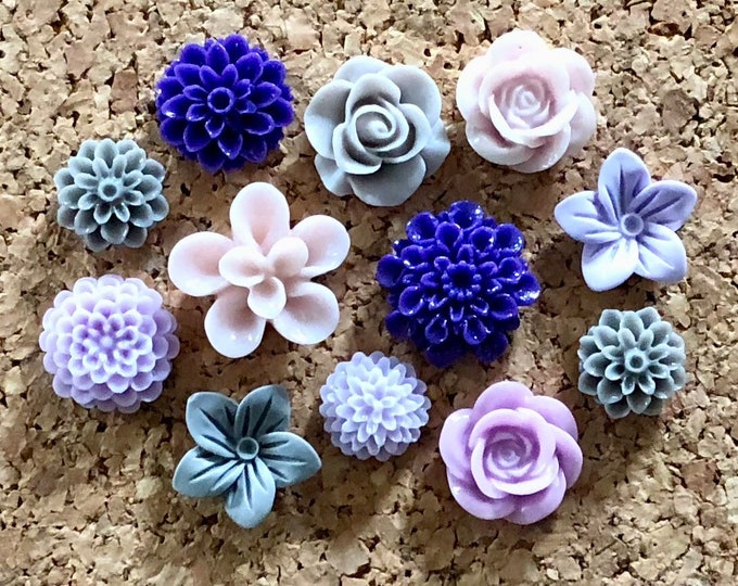 Featured listing image: Flower Push Pins or Magnet Set - Grey, Lavender & Deep Purple flowers