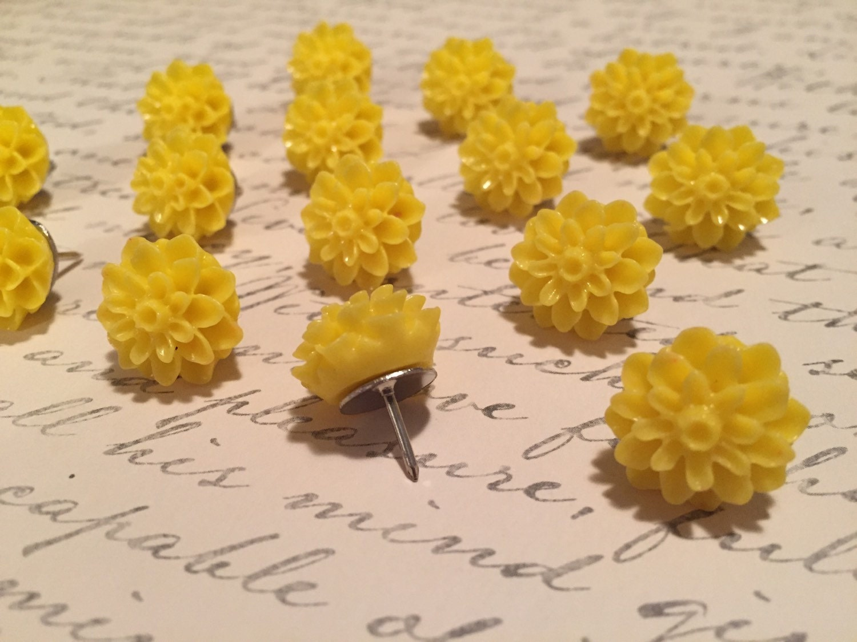Cute Yellow Flower Thumbtacks Set Of 25 Dorm Decor Office Etsy