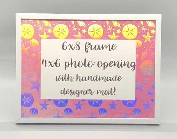 Photo Frame With Holographic Beach Themed Designer Mat Etsy