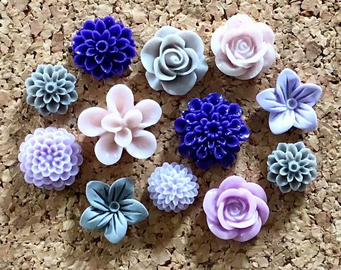 Featured listing image: Flower Push Pins or Magnet Set - Grey, Lavender & Deep Purple flowers