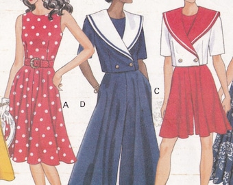 ee8bbc66fce Jacket Dress and Pantdress Patterns Size 6 8 10 Fitted Bodice Very Flared  Sleeveless Dress Sailor Style Jacket Butterick Sewing Pattern 5319