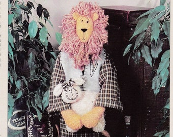 """Lion and Lamb Patterns Decorative Fabric Stuffed Standing 27"""" Tall Lion in Robe and Little Lamb Vanilla House Craft Sewing Pattern #74  OOP"""