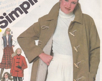 be185e4b4c Coat and Vest Patterns Misses  Size 14 Coat in Two Lengths Button-Out  Lining Quilted Coat and Vest Vintage Simplicity Sewing Pattern 5285