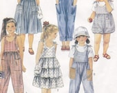 Toddler Jumpsuit, Romper, Sundress, Bag Child Size 3 Shoulder Tie Layered Dress or Jumper Play Clothes McCall 39 s Sewing Pattern 4775 Uncut