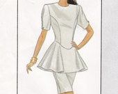 Dress Patterns Misses 39 Size 6 Bust 30.5 Waist 23 Straight Princess Seams Shaped Waist Peplum Dresses 1980 39 s Simplicity Sewing Pattern 8900