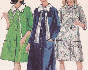 Robe Patterns Misses  Size 16 Bust 36 Button Front Semi-Fitted A-Line Peter  Pan Collar Robes Vintage Butterick Sewing Pattern 4626 CUT 7d495021d