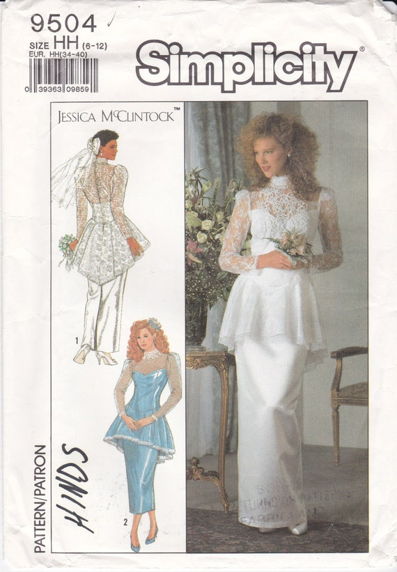 Simplicity Sewing Pattern 9504 Lace Wedding Dress with Peplum | Etsy