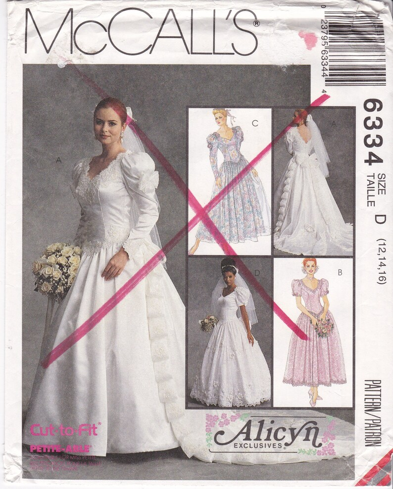 Bridal Gown Patterns V Neck V Back Puff Sleeves Fitted Bodice Full Skirt Train Lace Trimmed Dress Mccall S Sewing Pattern 6334 Size 12 14 16