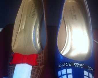 Handpainted Doctor Who heels/11th Doctor/10th Doctor/TARDIS