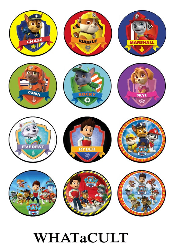 Paw Patrol Cupcake Toppers And Party Masks Printable Digital | Etsy
