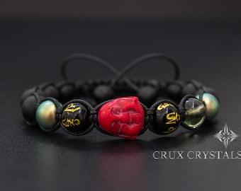 Smiling Buddha, Unisex Shamballa Bracelet, Mens Beaded Bracelet, Swarovski Elements, Black Onyx, Mantra Bracelet, Gemstone Bracelet, Gift