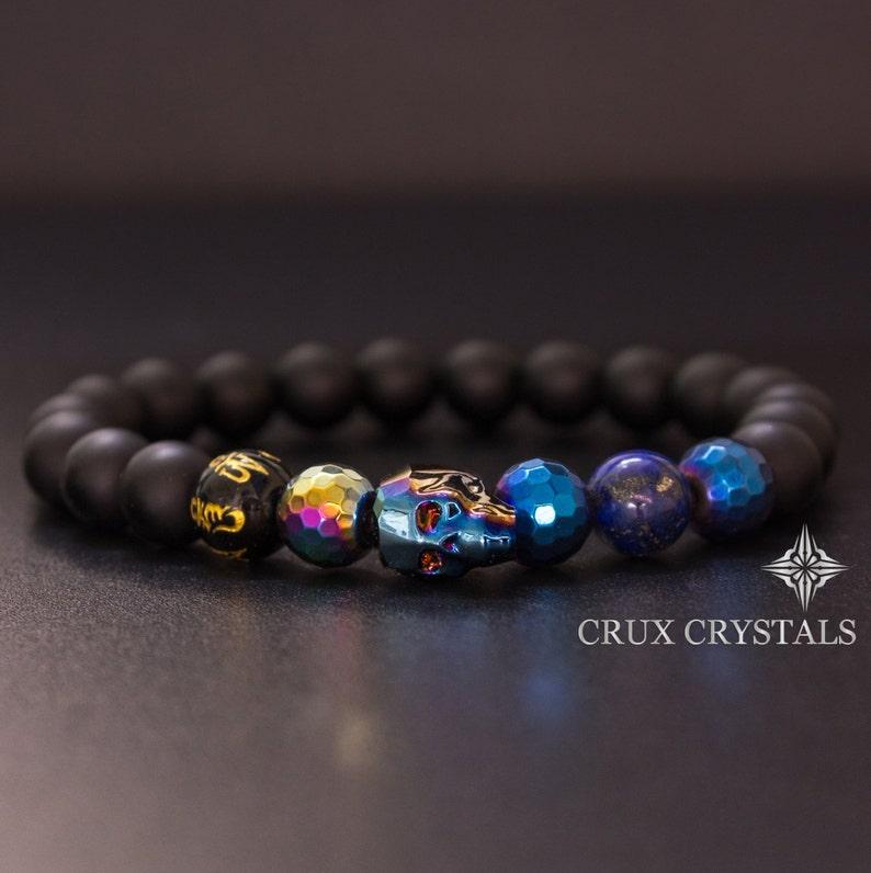 fb00d987ca3e Men s Blue Swarovski Crystal Skull Beaded Bracelet