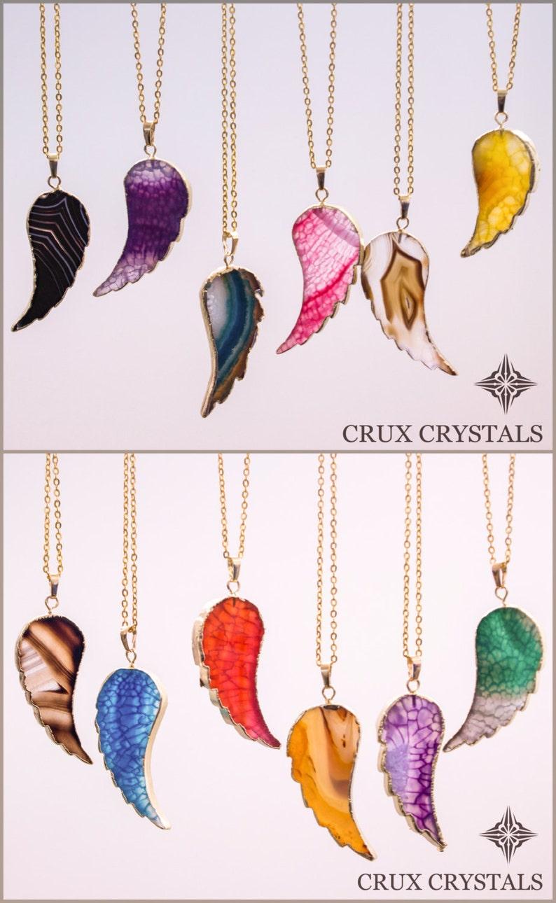 framed agate slices.htm on sale angels wing crystal necklace agate slice pendant etsy  crystal necklace agate slice pendant