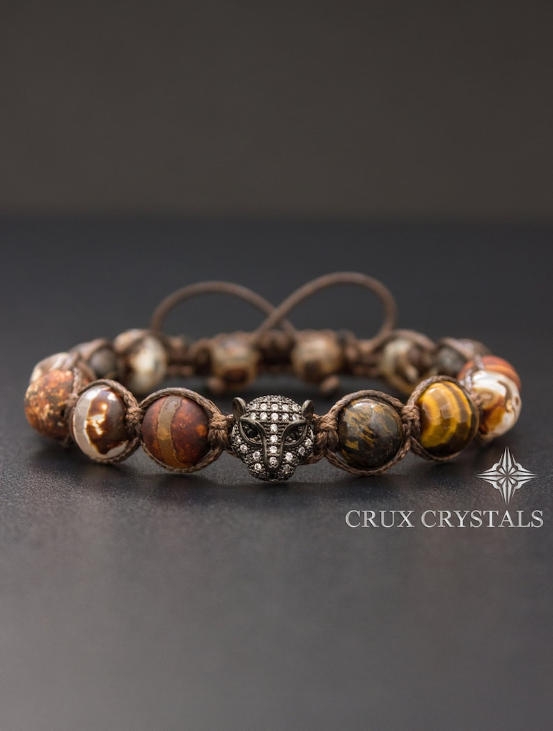22764ad2a670 Father s Day Gift Mens Brown Agate   Tigers Eye Shamballa