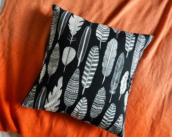Feathers Cushion Cover, Throw Pillow Cover, Throw Cushion, Decorative Cushion Cover, Decorative Pillow Cover - Navy
