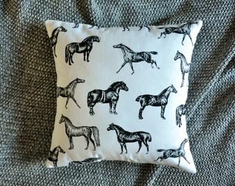 Horse Cushion Cover, Throw Pillow Cover, Throw Cushion Cover, Decorative Cushion Cover, Decorative Pillow Cover - Black & White