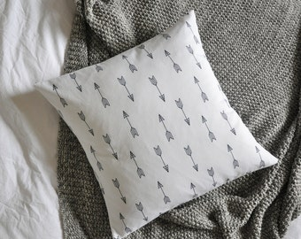 Arrows Cushion Cover, Throw Pillow Cover, Throw Cushion Cover, Decorative Cushion Cover, Decorative Pillow Cover - White & Black