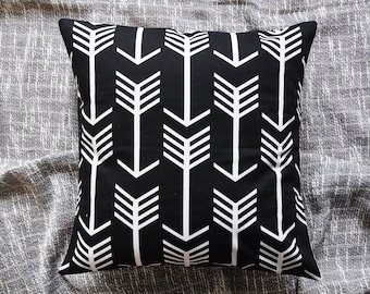 Arrows Cushion Cover, Throw Pillow Cover, Throw Cushion Cover, Decorative Cushion Cover, Decorative Pillow Cover - Black & White